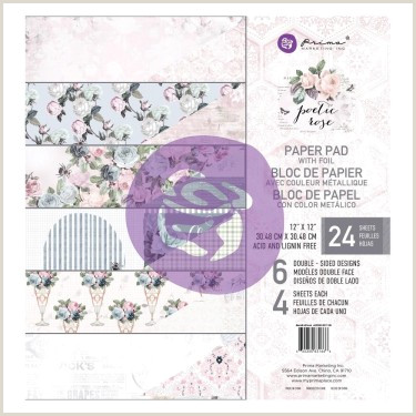 "Free Rose Paper Flower Template Prima Poetic Rose 12""x12"" Paper Pad"