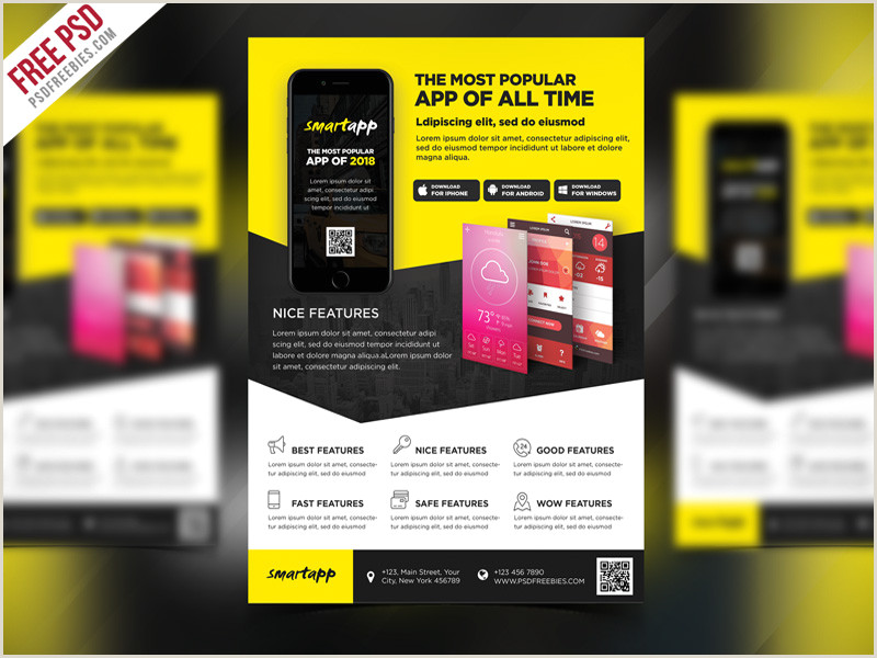 Free PSD Mobile App Promotion Flyer Template PSD by PSD