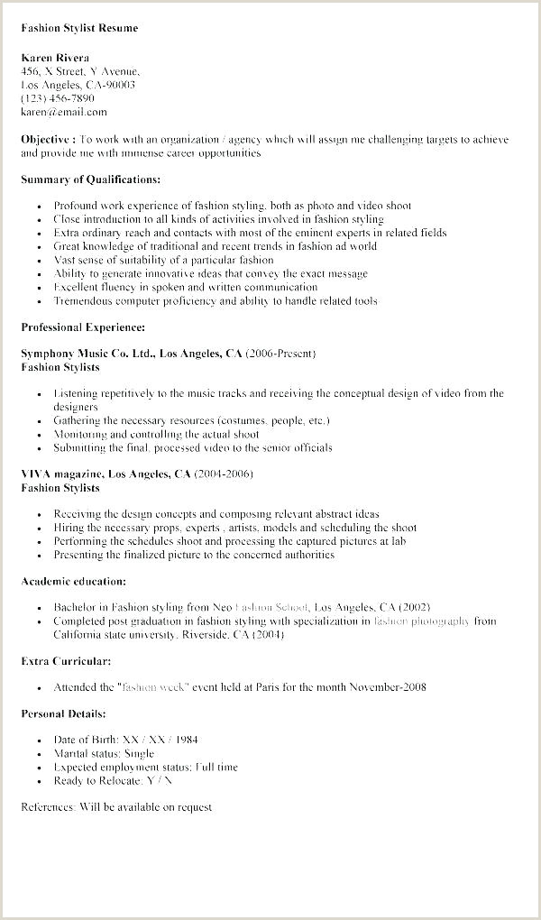 fashion stylist resume example – newskeyfo