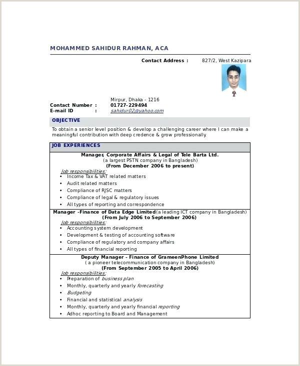 Fresher Accountant Cv Format Chartered Accountant Cv Template – Kidzmagz