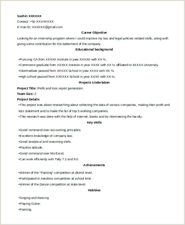 Fresher Accountant Cv Format Internship Resume Format – Joefitnessstore