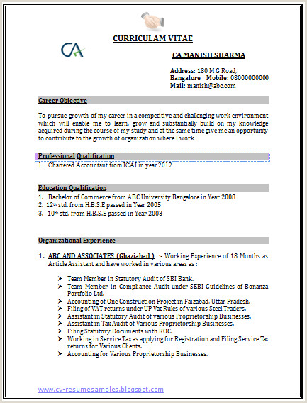 Fresher Accountant Cv format Latest Chartered Accountant Resume Free Template Sample