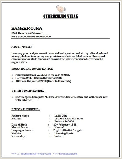 Fresher Bcom Resume Format Doc Career Page 11