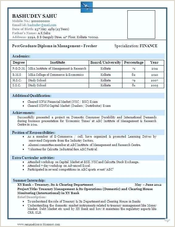 Fresher Bcom Resume Format Doc Sample Resume Format For Mba Finance Freshers
