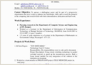 Career Objective for Resume for Fresher In puter Science