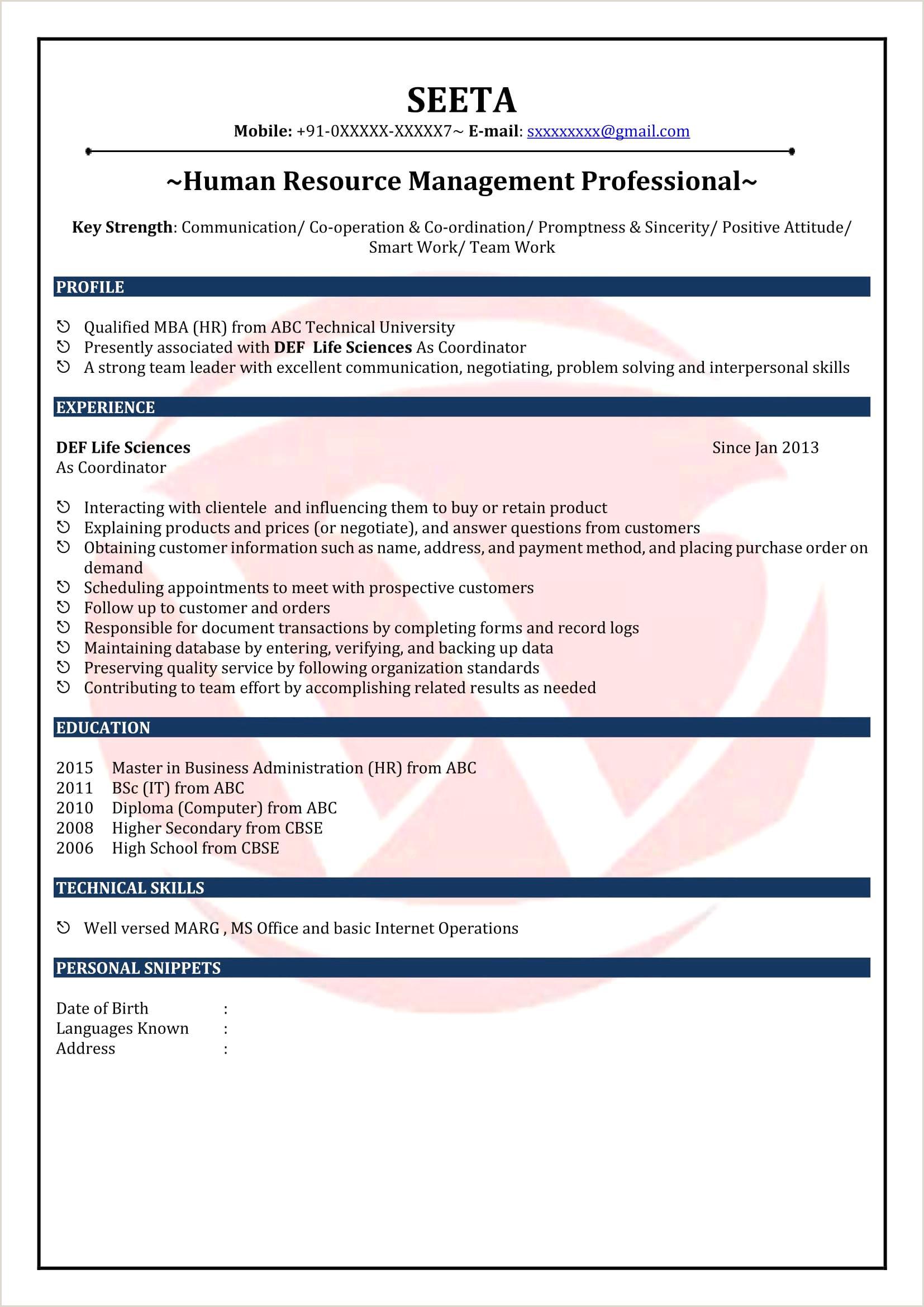 Fresher Cv format Beautiful Mba Fresher Resume format Pdf
