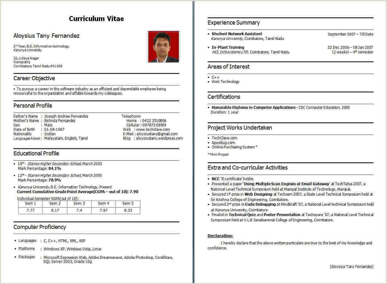 Fresher Cv Format Download Resume Sample For Fresher Bca Templates Essay