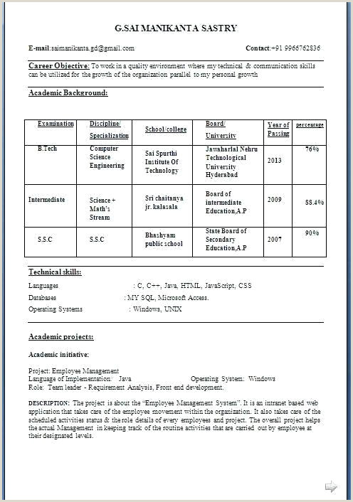 Fresher Cv format for Bank Job Resume format for Professional – Dew Drops