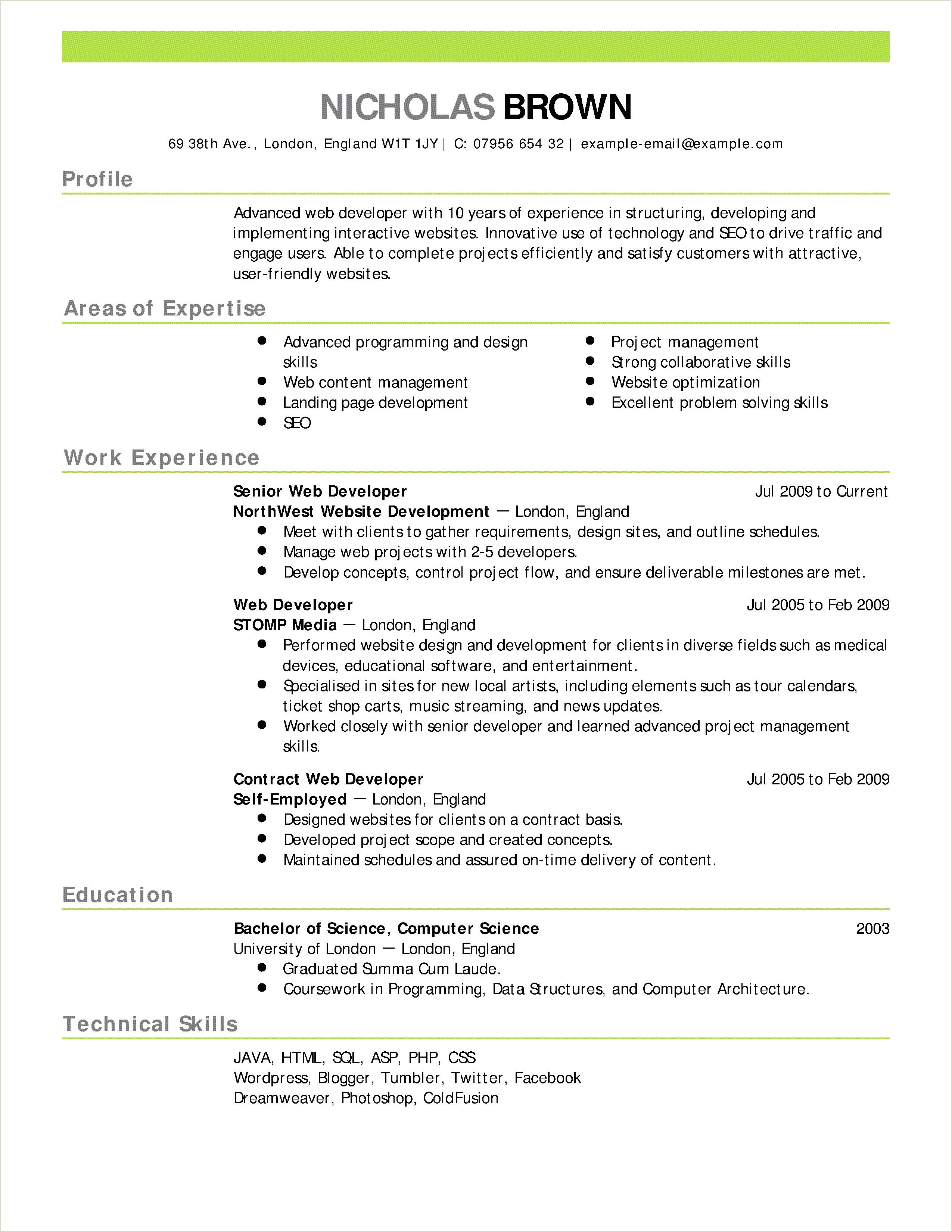 Fresher Cv format for Engineers Puter Science Fresher Resume format Sample for within
