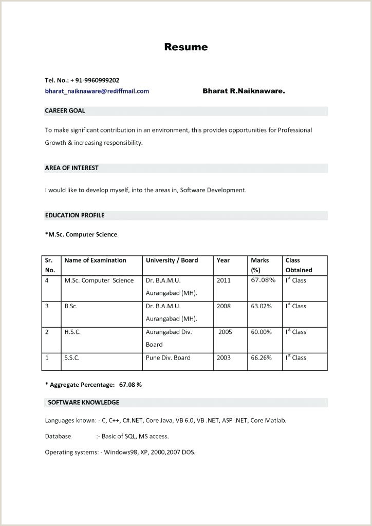 Fresher Cv format for Engineers Resume format Pdf – Paknts