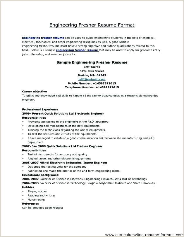 Fresher Cv format for Engineers Resume Sample – Growthnotes