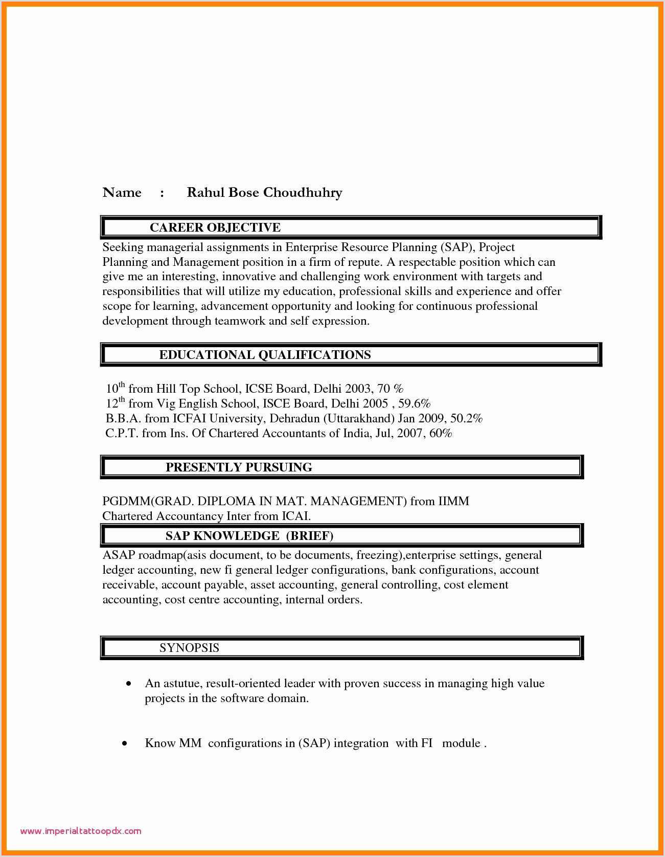 Fresher Cv format for Mba Mba Resume format for Freshers In Finance
