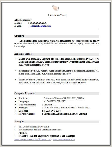 Fresher Cv format In Ms Word Free Download Latest C V format In Ms Word B Tech Resume