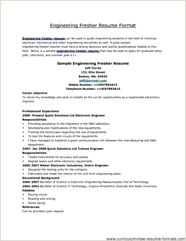 Fresher Cv format In Word Good Resume Templates for Freshers – Hayatussahabah