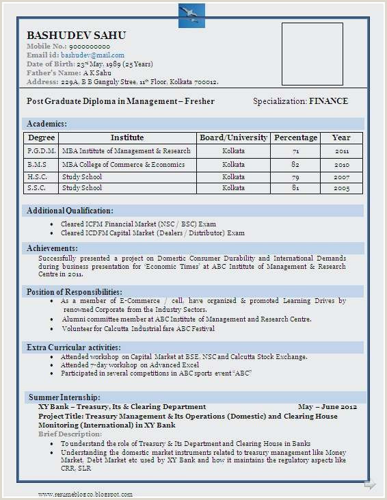 Fresher Cv format In Word Simple Resume format for Mba Freshers