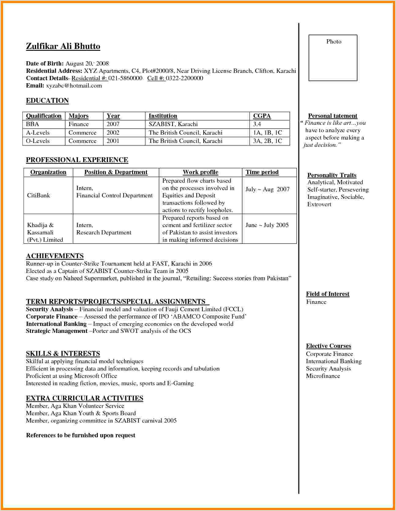 Fresher Cv Format Pakistan Resume Format For Bank Jobs Curriculum Vitae Banking Pdf