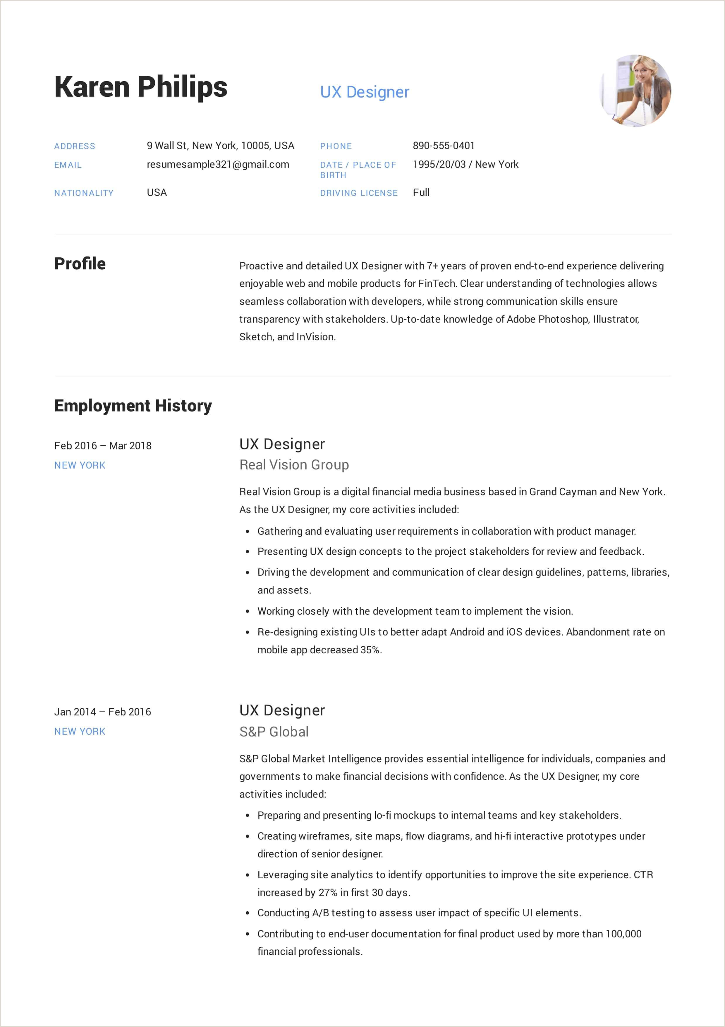 Fresher Cv format Pdf 12 Ux Designer Resume Sample S Resumeviking