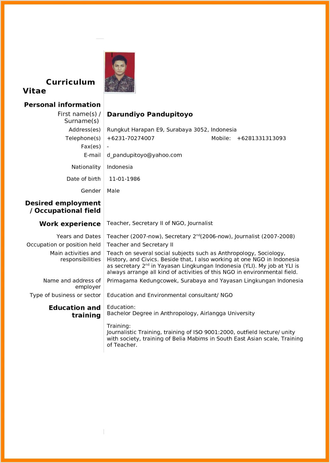 Fresher Cv format Pdf 148 for High Students Standard and Technician with Good