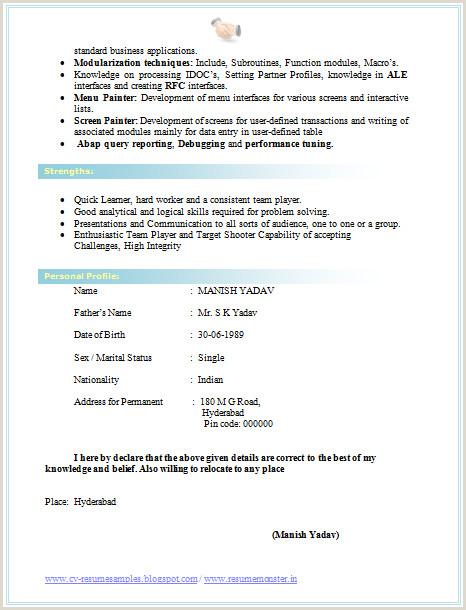 Fresher Cv Sample Doc Cv format for Bsc 2 Career