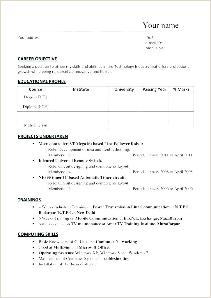Fresher Engineer Resume format Pdf Download Good Resume Templates for Freshers – Hayatussahabah
