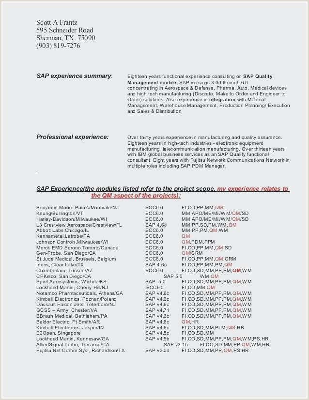 Fresher Resume Best format format De Cv Charmant Sap Resume Samples for Freshers Best