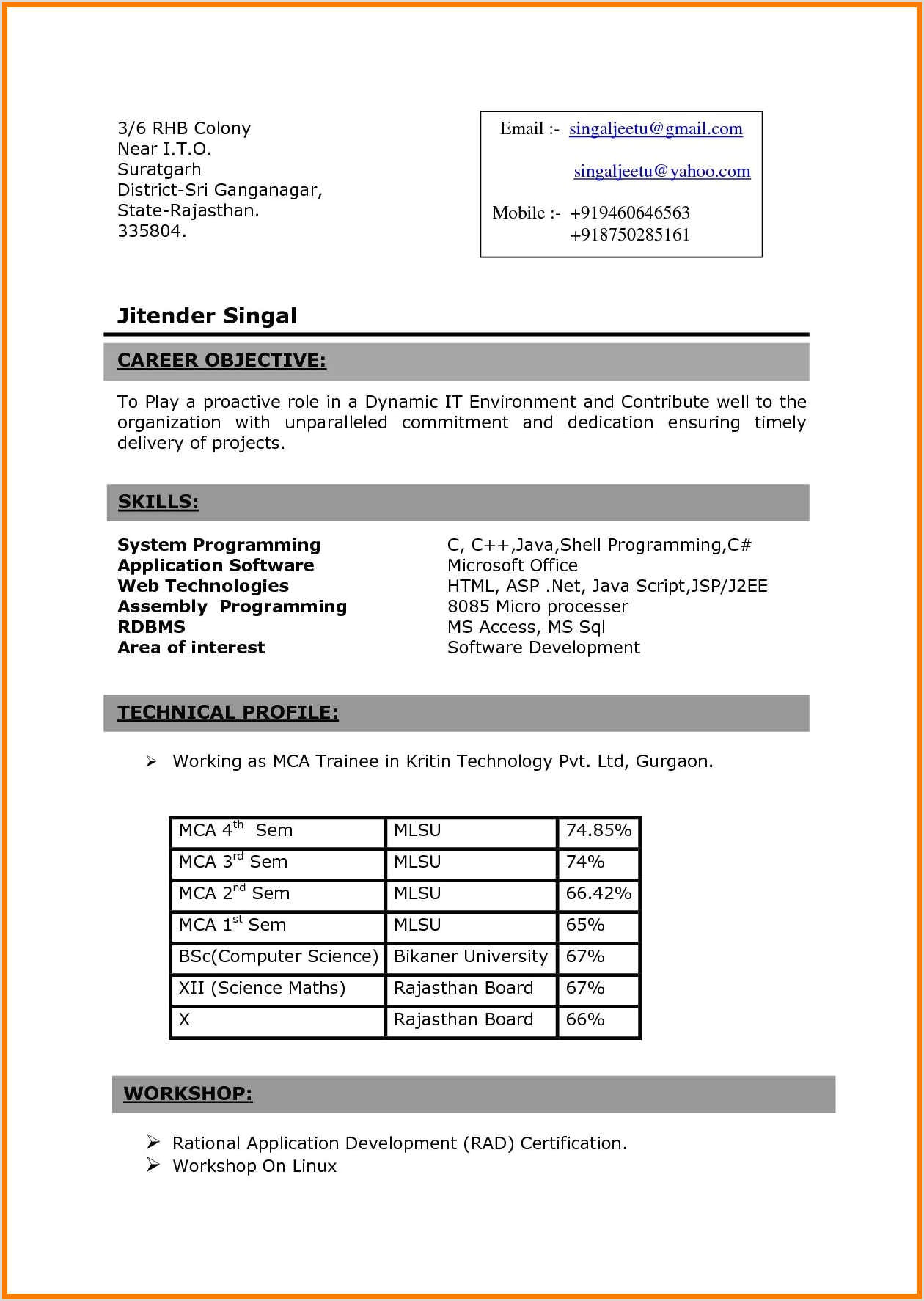 Fresher Resume format B.com Sample Resume format Mca Freshers New 12 13 Fresher Resume