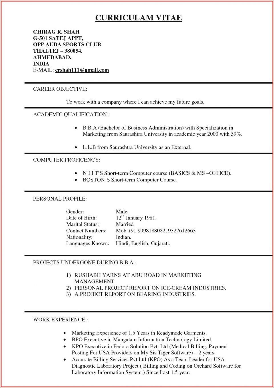 Fresher Resume Format Ba Marketing Assistant Resume Format Pdf Download Coordina