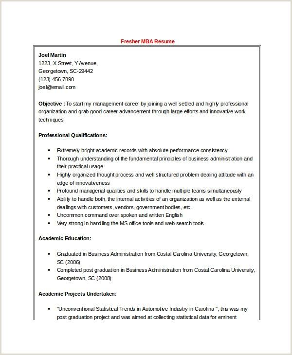 Fresher Resume format Bba 47 Best Resume formats Pdf Doc