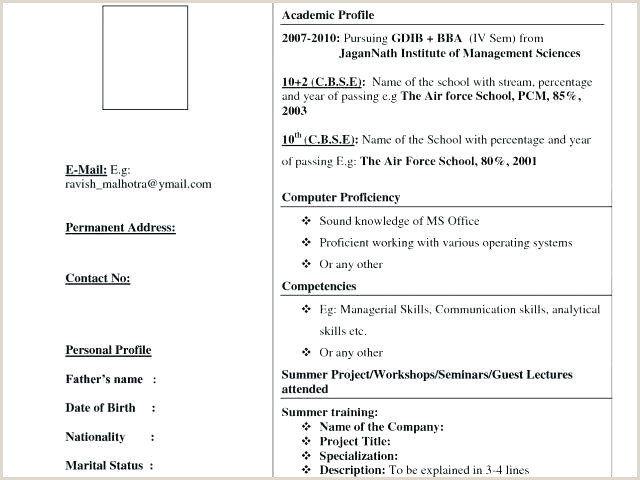 Fresher Resume format Bba Resume format Fresher – Englishor