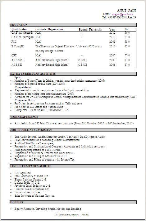 Fresher Resume Format Bcom Best Resume Format For B Freshers Sample Resume For