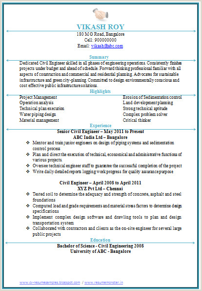 Fresher Resume Format Civil Engineer Professional Curriculum Vitae Resume Template For All Job