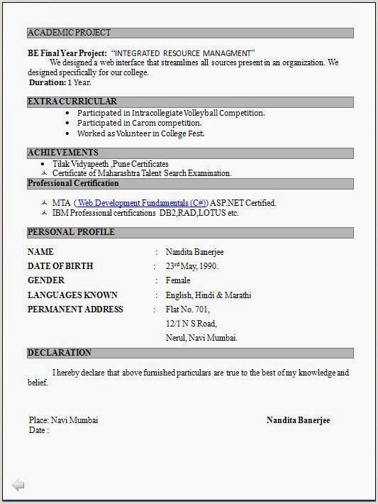Fresher Resume format Doc Download Resume format for Freshers Pdf