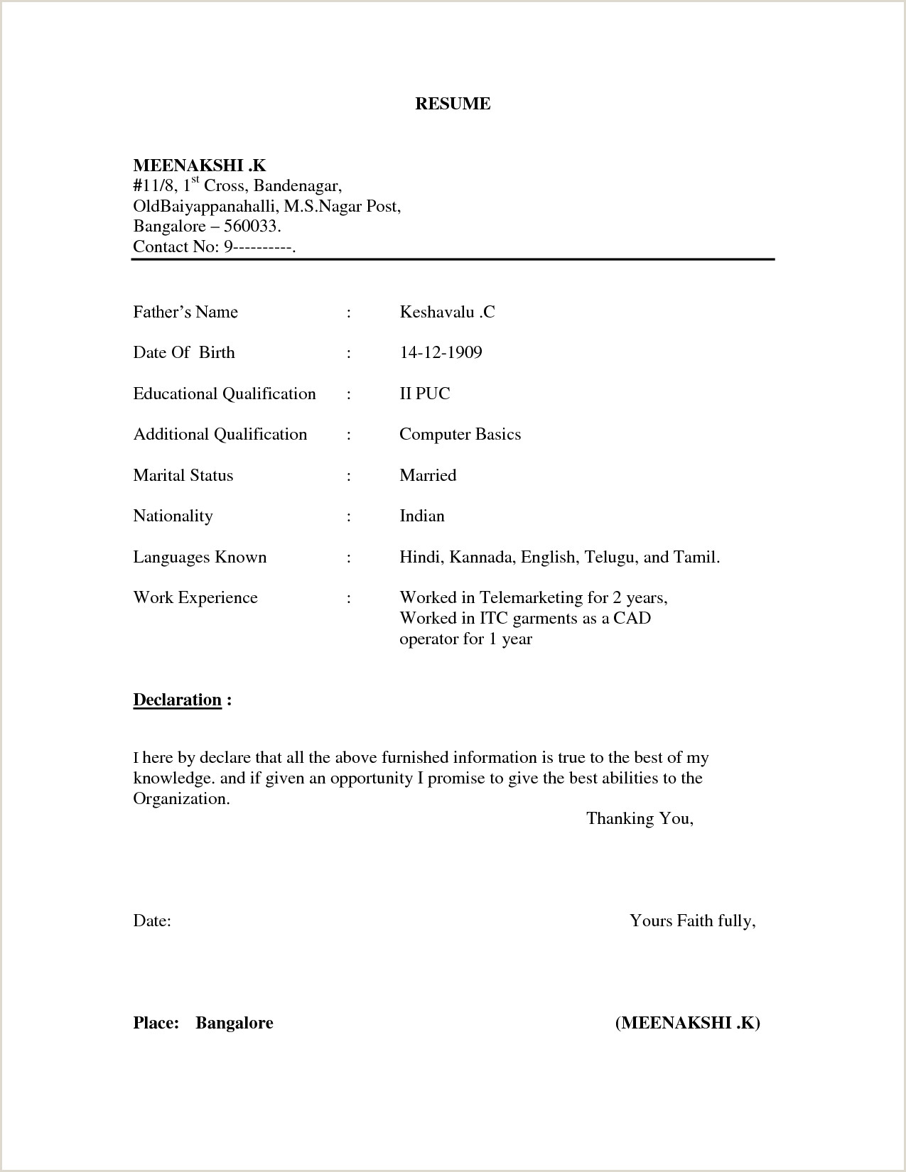 Fresher Resume format Doc File Resume format Basic 156