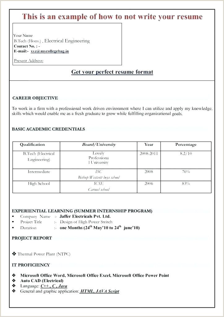 Fresher Resume Format Doc Free Download Best Cv Template – Naomijorge