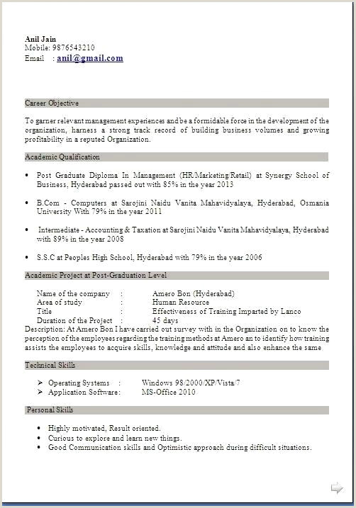 Fresher Resume Format Doc Free Download Free Sample Resumes For Freshers – Growthnotes