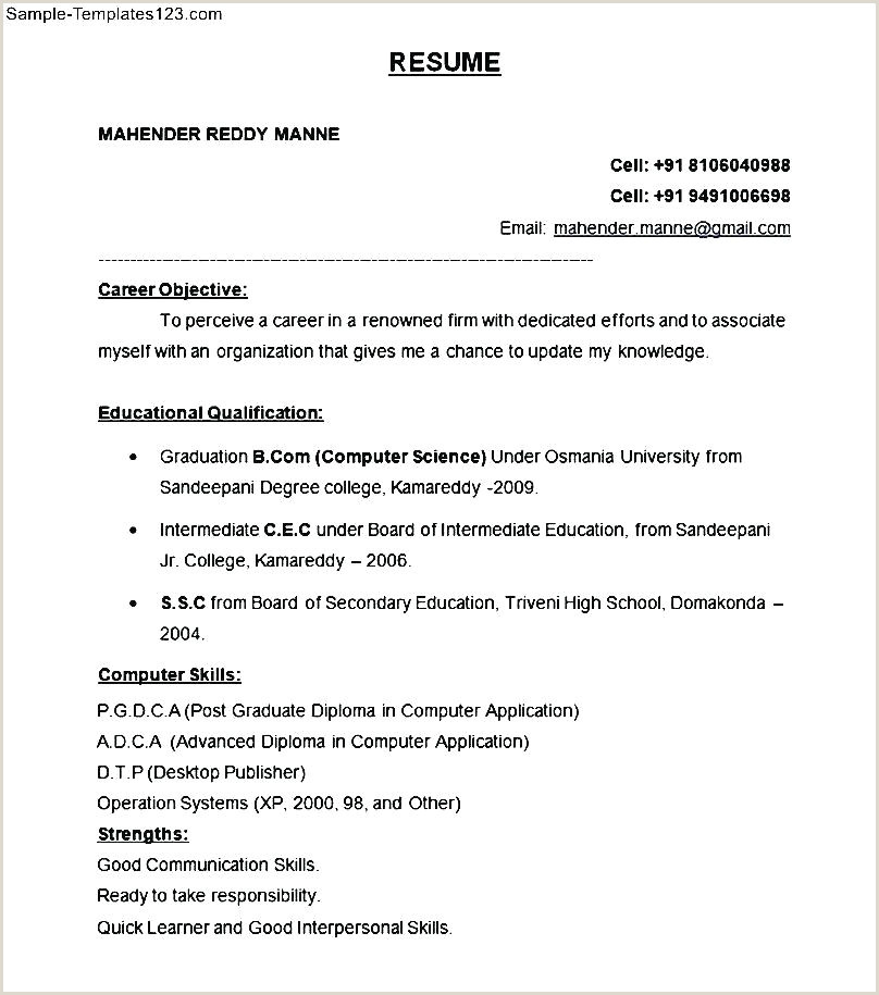 Fresher Resume format Doc Free Download Sample Of A Resume format – Dew Drops