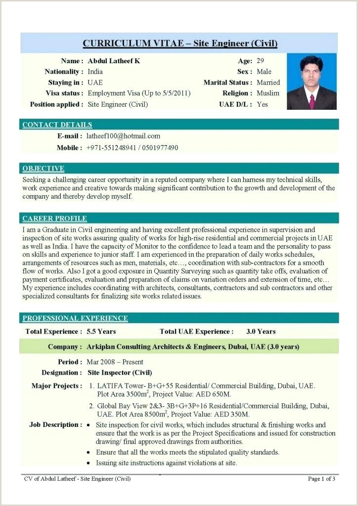 Fresher Resume format Doc India Civil Engineering Resume formats – Emelcotest