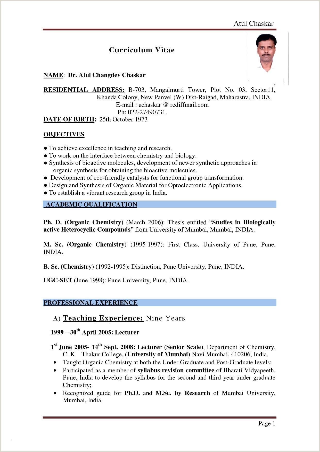 Fresher Resume Format Doc India Resume Template For Fresher Teacher Valid Mba Fresher Resume