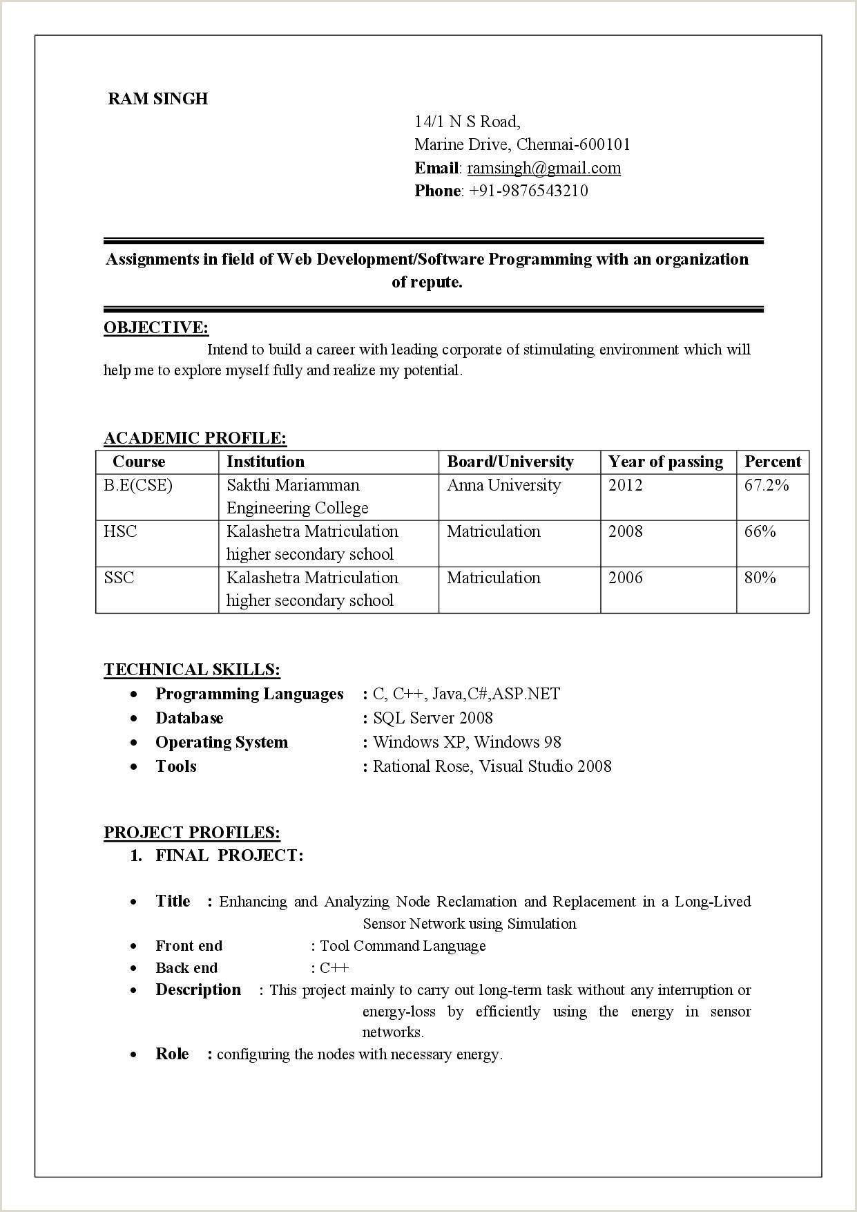 Fresher Resume format Doc Resume formats for Fresher New Resume Freshers format Sample