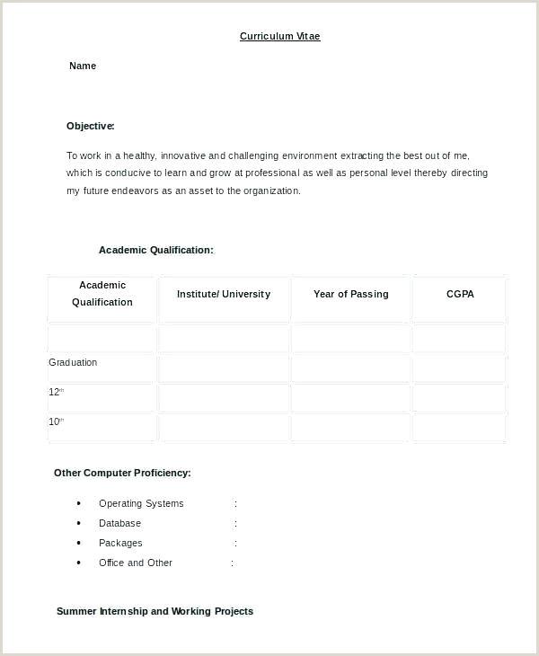 Fresher Resume format Download Free Download Sample Resume format for Freshers Resumes Word