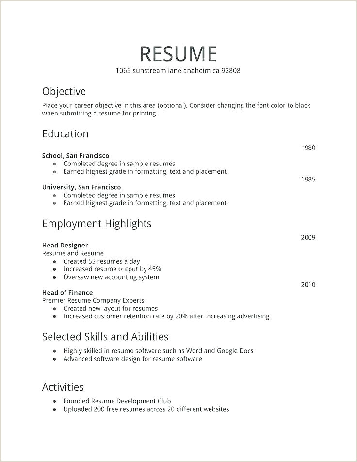 Fresher Resume format Download Free Fresher Resume Templates Doc Resume Download Free for