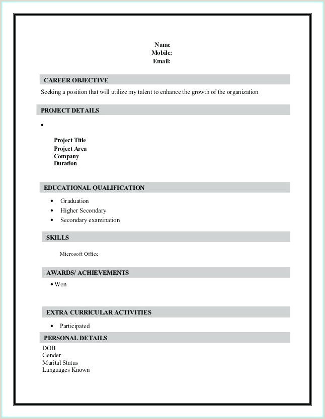 Fresher Resume Format Download In Ms Word 2007 Simple Resume Format For Freshers – Wikirian