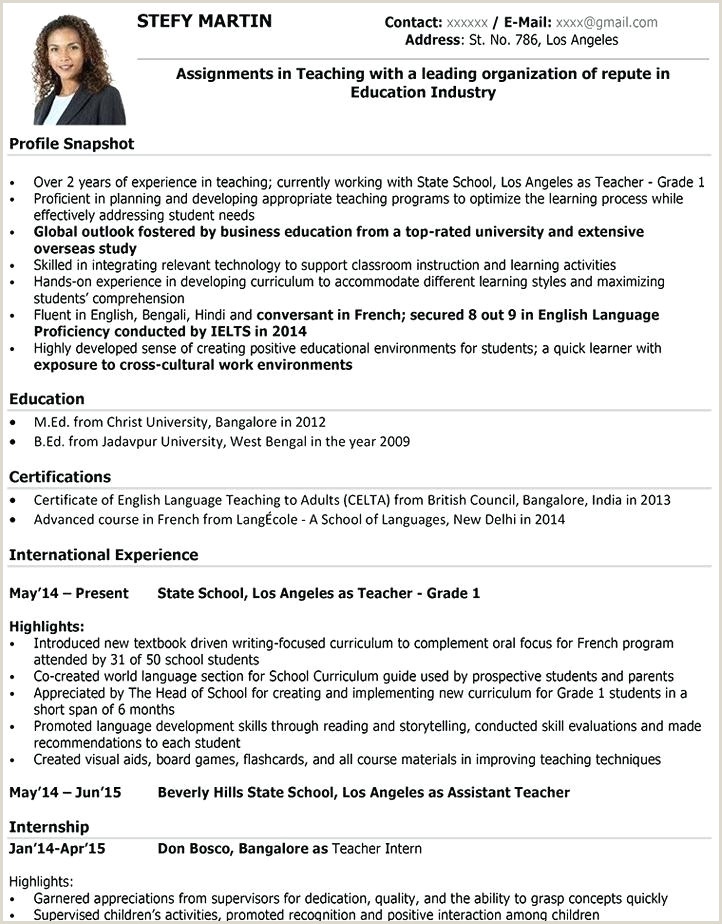 Fresher Resume format Download In Ms Word for B.com Teacher Resume format – Agarvain