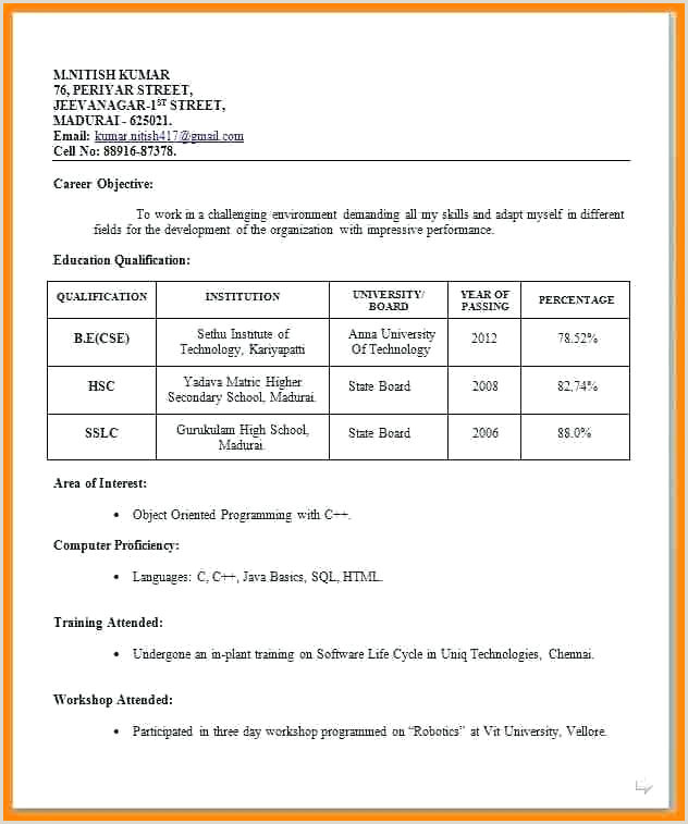 Fresher Resume format Download In Ms Word for Teacher Resume format Pdf – Paknts