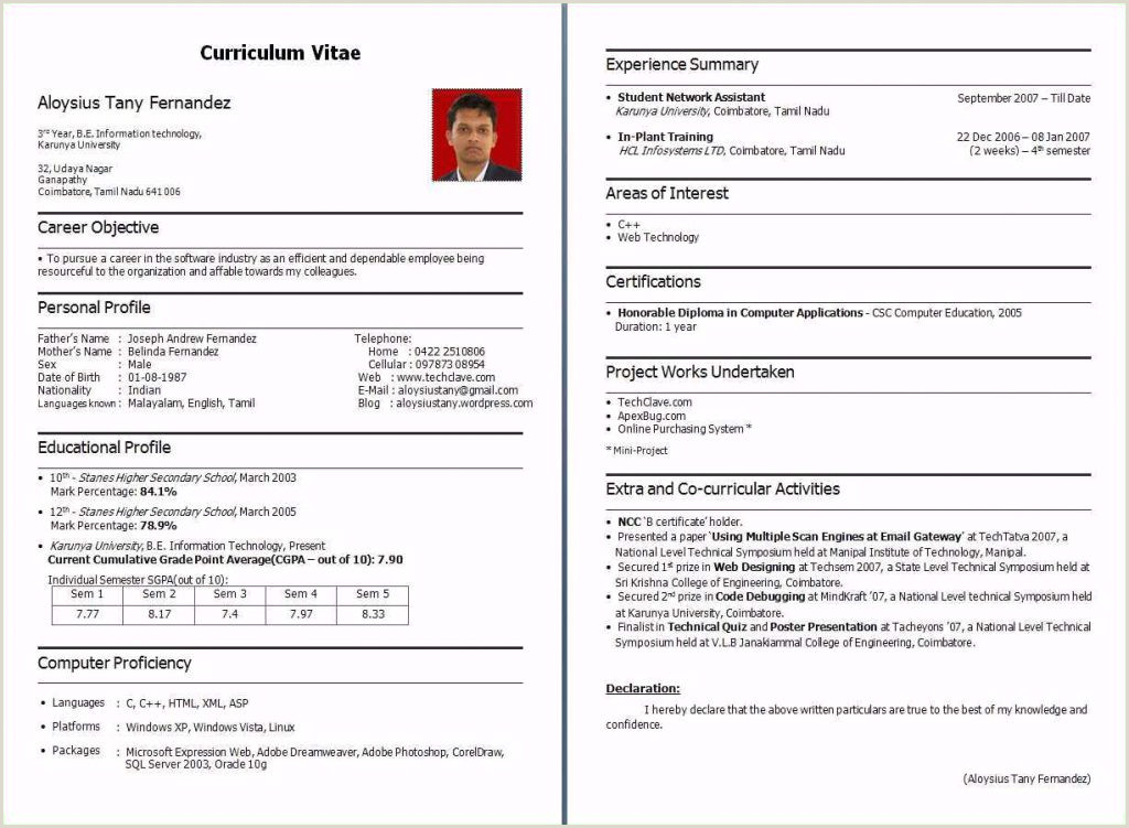 Fresher Resume format Download In Ms Word Pdf Indian Resume format Pdf