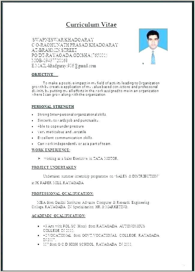Fresher Resume format Download In Word format Curriculum Vitae Ms Word Resume Sample Free Download