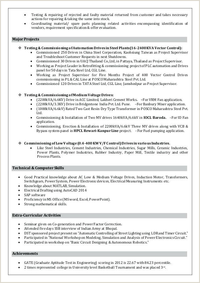 Fresher Resume Format Electrical Engineer Electrical Engineering Resume Template – Growthnotes