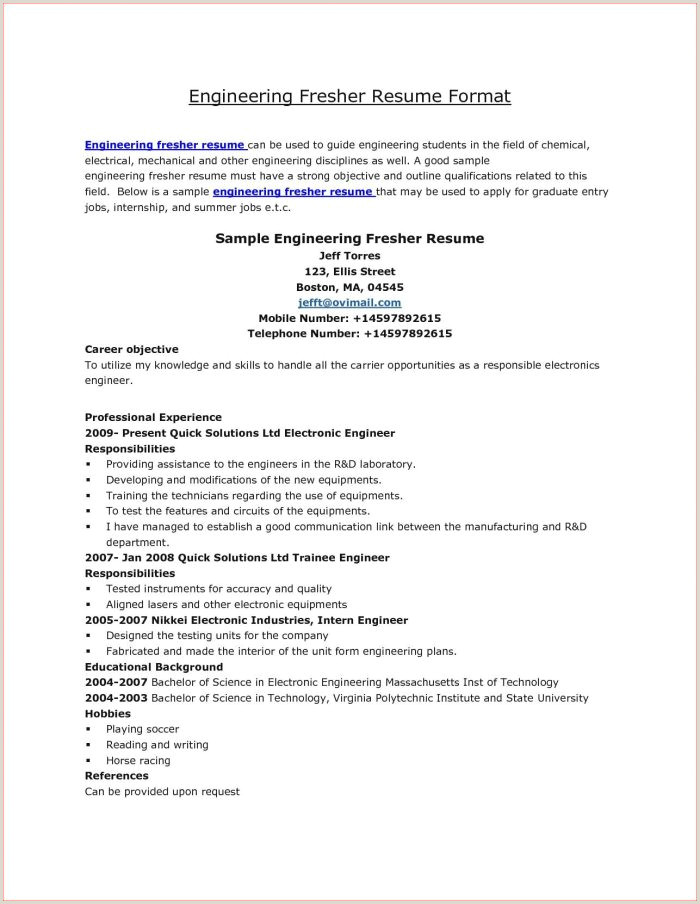 Fresher Resume Format Electrical Engineer Mechanical Engineer Oil And Gas Resume Samples Resume