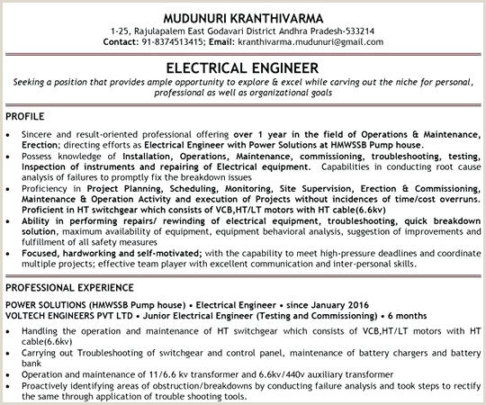 Fresher Resume Format Electrical Engineer Resume Format Fresher – Englishor
