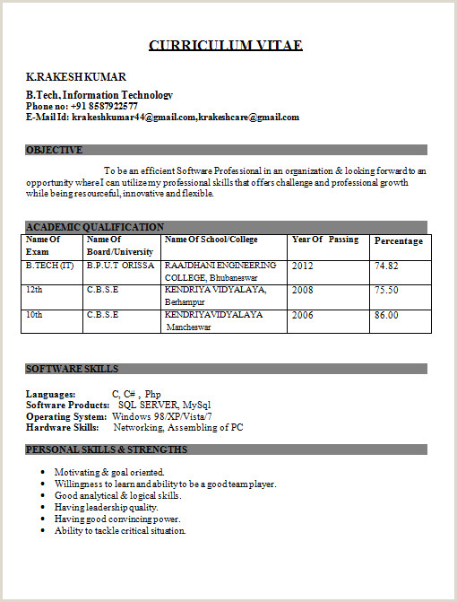 Fresher Resume Format Examples It Engineer Fresher Resume Kundan